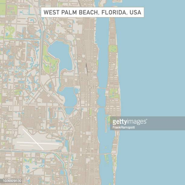 west palm beach florida us city street map - downtown district stock illustrations
