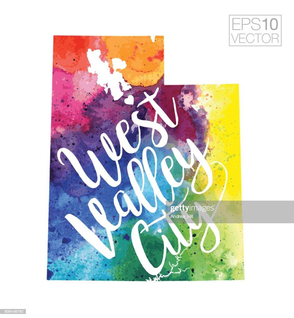 West Valley City Utah Usa Vector Watercolor Map Vector Art   Getty ...