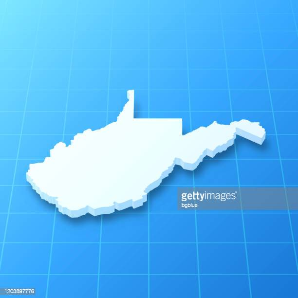 west virginia 3d map on blue background - west virginia us state stock illustrations