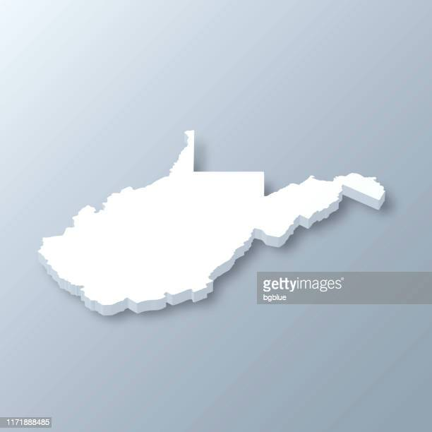 west virginia 3d map on gray background - west virginia us state stock illustrations
