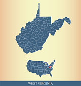 West Virginia county map outline vector illustration background in a creative design