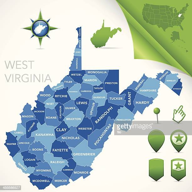 west virginia county map - west virginia us state stock illustrations