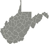 West Virginia county map vector outline