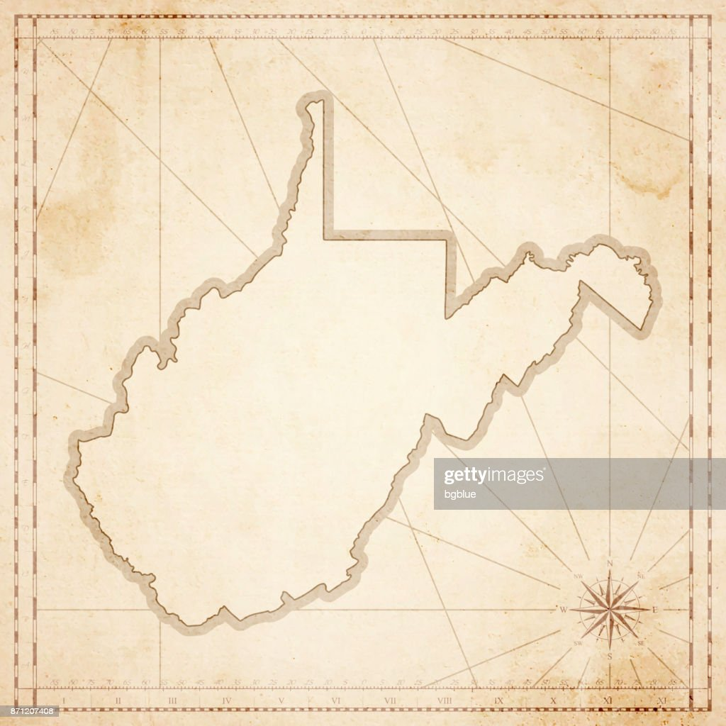 West Virginia Map In Retro Vintage Style Old Textured Paper Vector