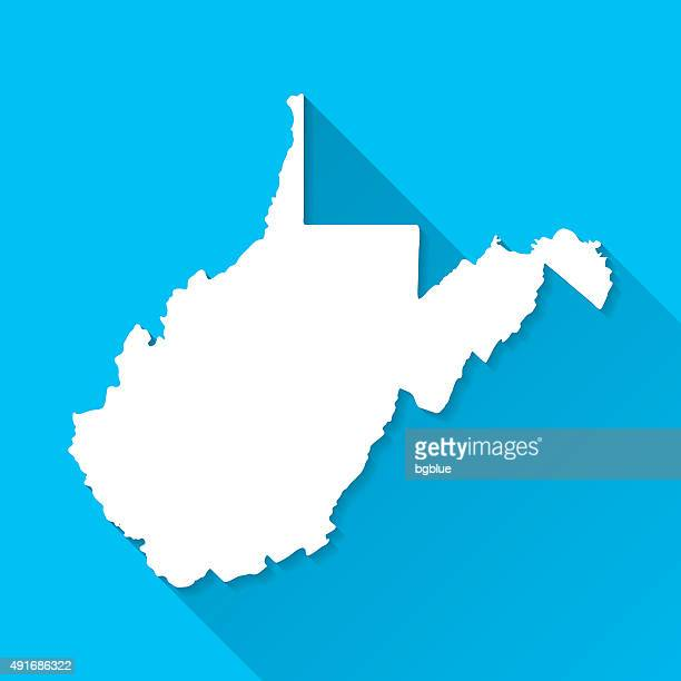 west virginia map on blue background, long shadow, flat design - west virginia us state stock illustrations