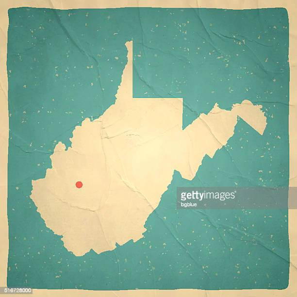 west virginia map on old paper - vintage texture - west virginia us state stock illustrations