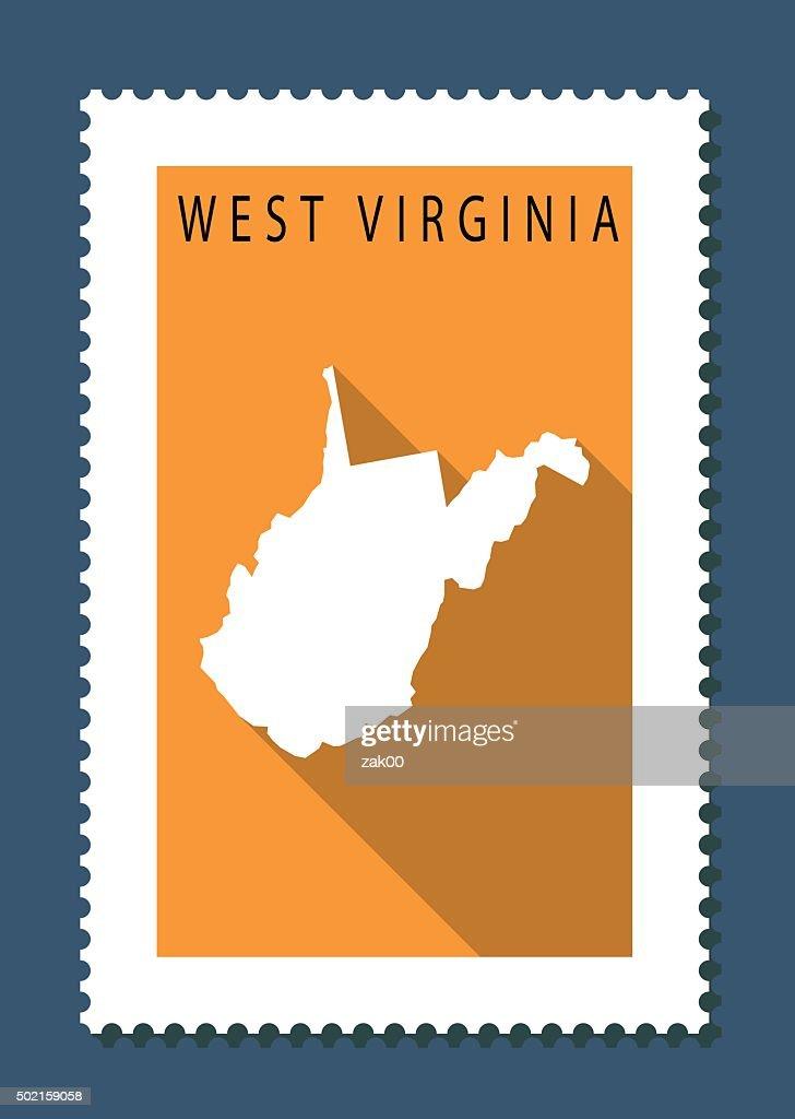 West Virginia Map On Orange Background Long Shadow Flat Design