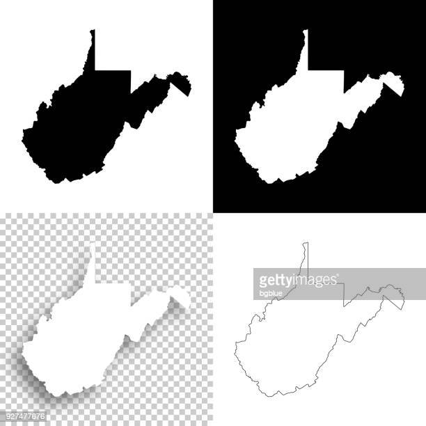 west virginia maps for design - blank, white and black backgrounds - west virginia us state stock illustrations
