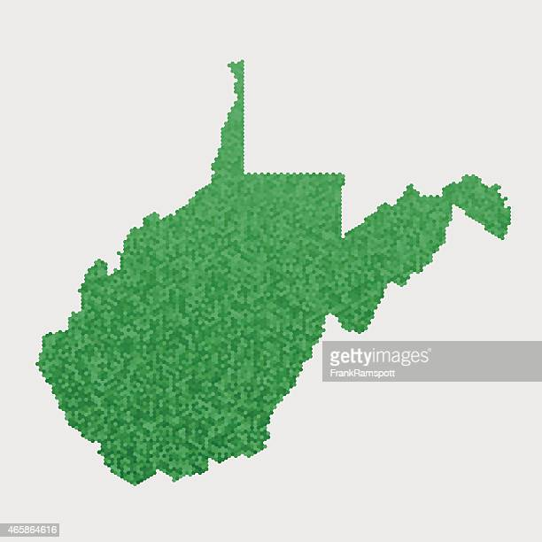 West Virginia State Map Green Hexagon Pattern