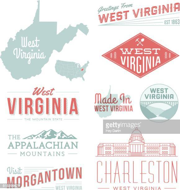 west virginia typography - charleston west virginia stock illustrations