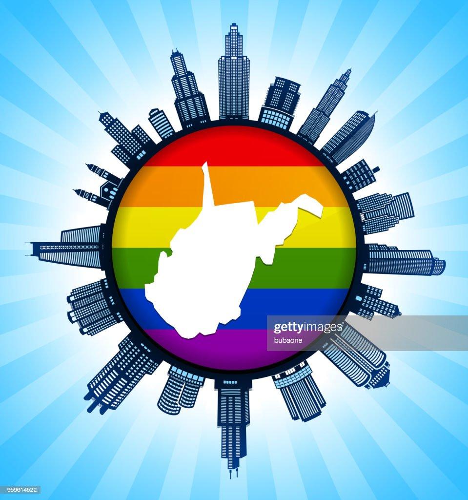 West_Virginia staatliche Karte auf Gay Pride Stadt Skyline Hintergrund : Stock-Illustration