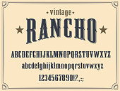 Western alphabet font, Wild West letters, numbers
