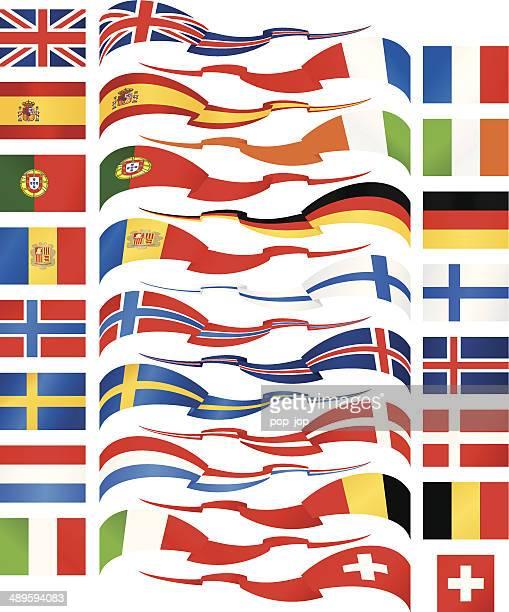 west und nord europa-flagge bänder kollektion - norwegische flagge stock-grafiken, -clipart, -cartoons und -symbole