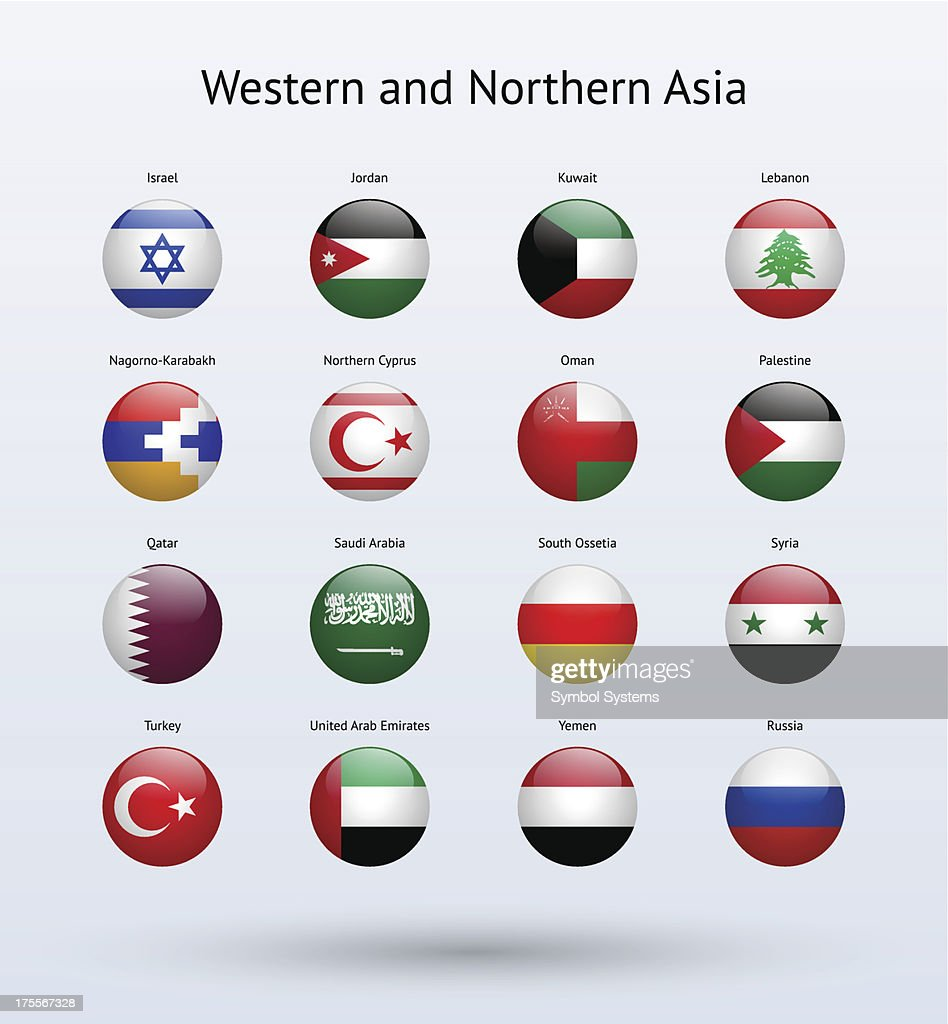 Western and Northern Asia Round Flags Collection