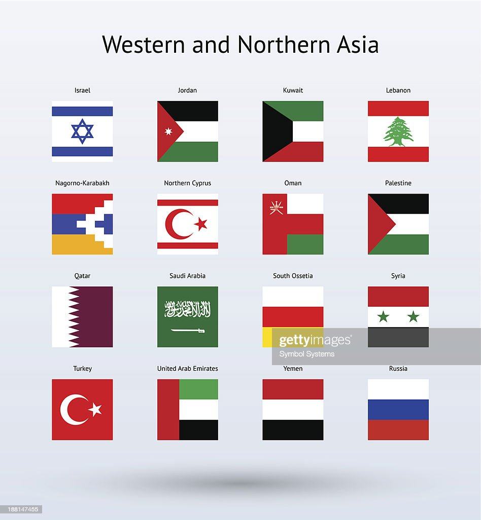 Western and Northern Asia Square Flags Collection