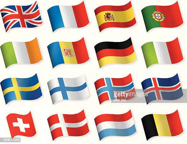 Western and Northern European vector flag icons