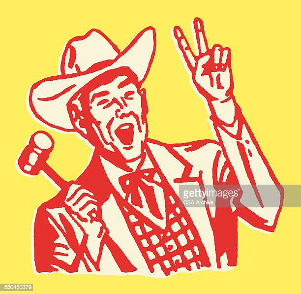 western auctioneer with two fingers up and gavel in hand - auction stock illustrations