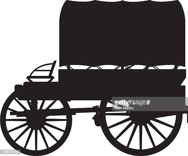 western chuck wagon silhouette - horse cart stock illustrations, clip art, cartoons, & icons
