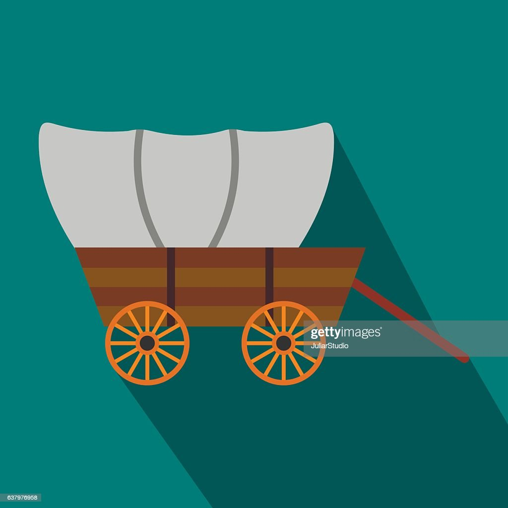 Western covered wagon flat icon
