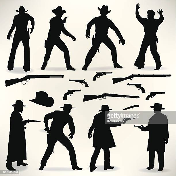western cowboy gunslingers - gun fight, outlaws - handgun stock illustrations