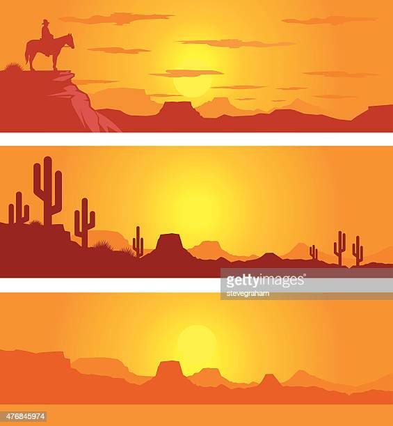 ilustraciones, imágenes clip art, dibujos animados e iconos de stock de western escena del desierto al atardecer con cowboy - puesta de sol