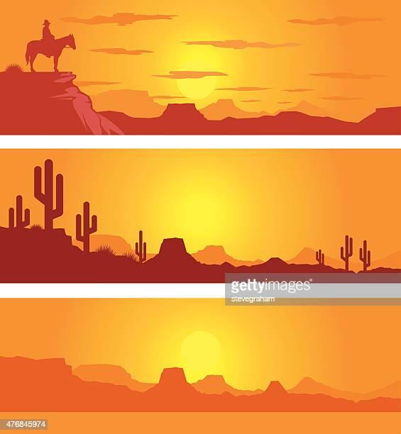 Western Desert Scene at Sunrise with Cowboy