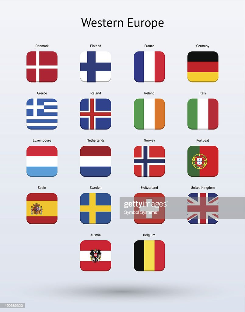 Western Europe Square Icons Flags Collection