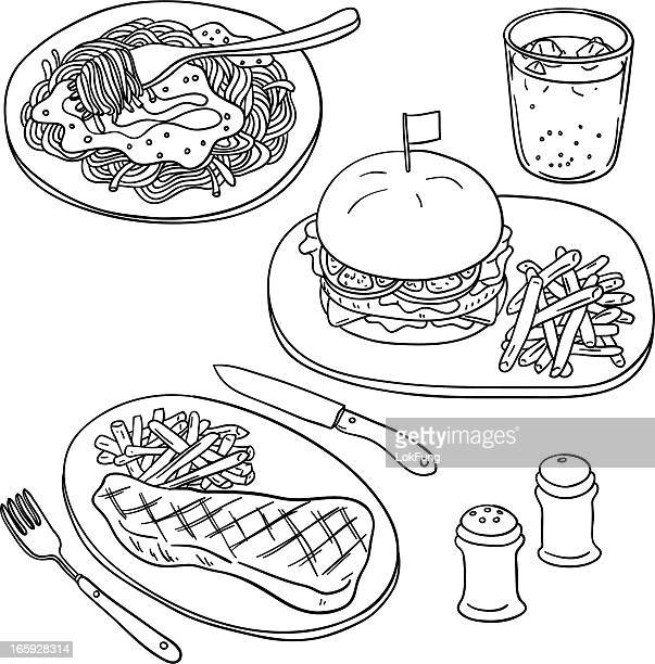 western food in black and white - sirloin steak stock illustrations, clip art, cartoons, & icons