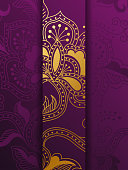 Western Golden And Purple Floral Background Template