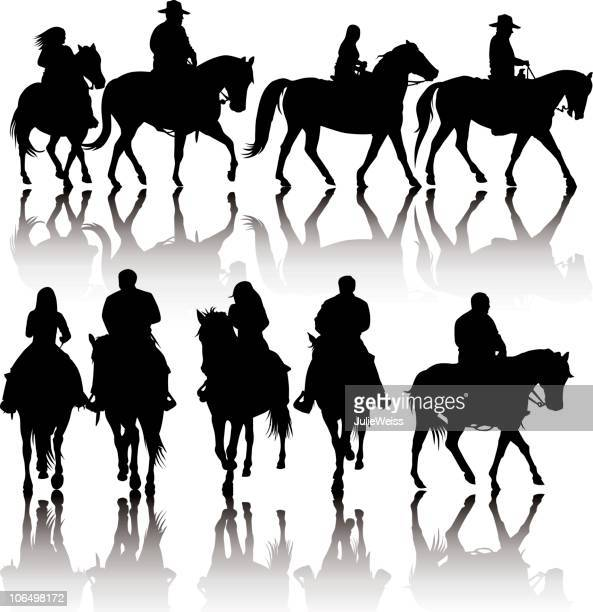 western horse silhouettes - horseback riding stock illustrations, clip art, cartoons, & icons
