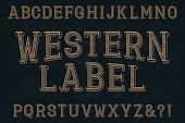 Western label font. Isolated english alphabet.