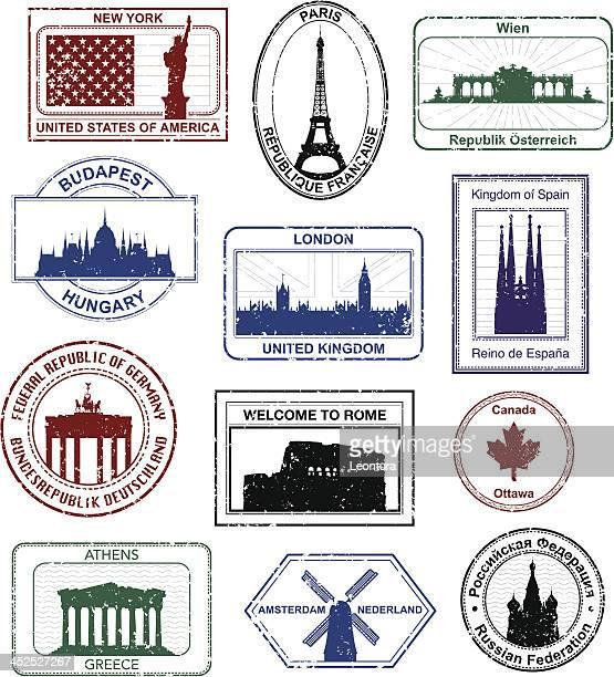 western-passstempeln - griechenland stock-grafiken, -clipart, -cartoons und -symbole