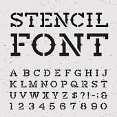 Western retro alphabet vector stencil font.