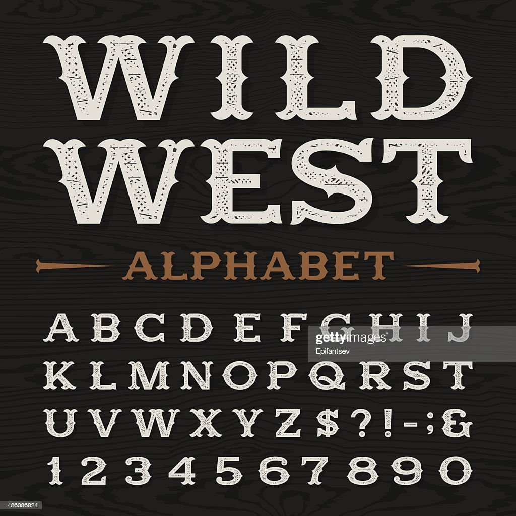 Western retro dirty alphabet vector font.
