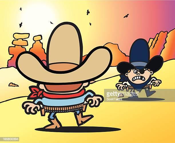 ilustraciones, imágenes clip art, dibujos animados e iconos de stock de western showdown - maltrato infantil