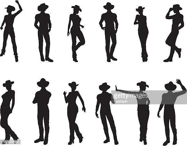 western silhouette collection - cowboy hat stock illustrations, clip art, cartoons, & icons
