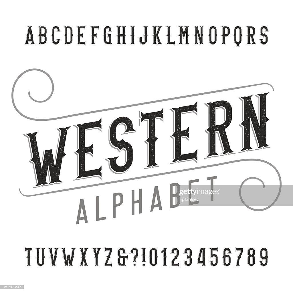 Western style retro alphabet font
