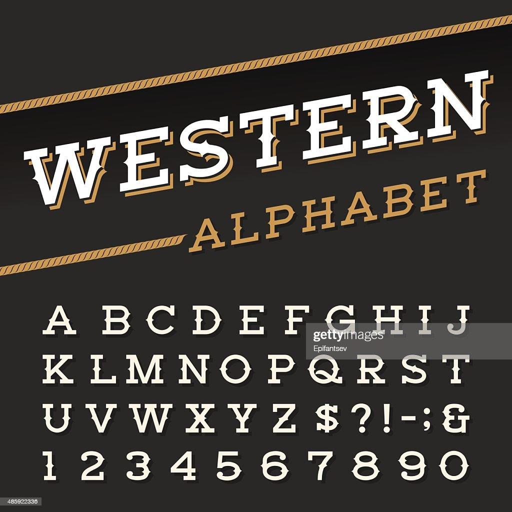 Western style retro alphabet vector font.