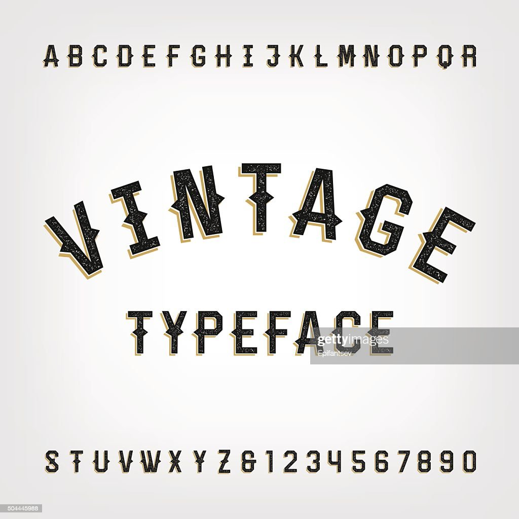 Western style retro distressed alphabet vector font.