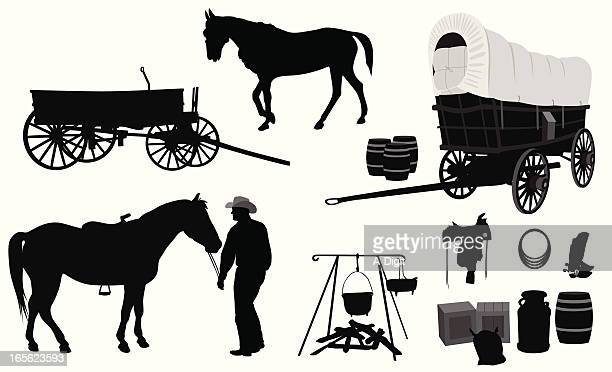 western vector silhouette - horsedrawn stock illustrations, clip art, cartoons, & icons