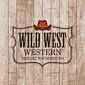 Western vintage background with a cowboy hat