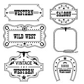 Western vintage labels isolated on white for design