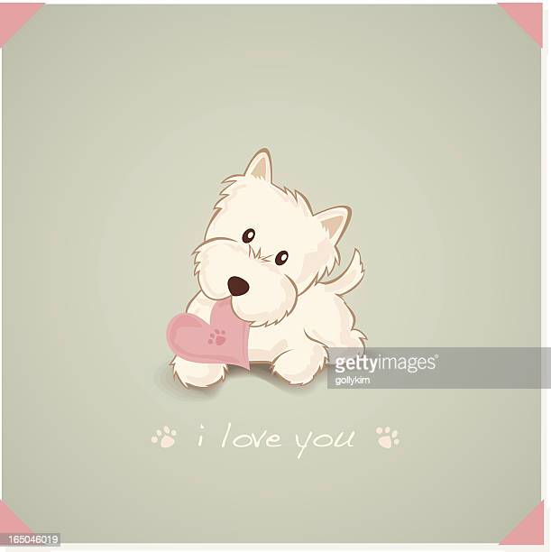Westie with Heart Shape Message in mouth