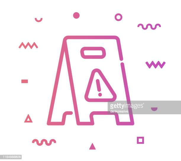 wet floor line style icon design - building story stock illustrations