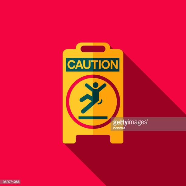 Wet Floor Sign Flat Design Cleaning Icon with Side Shadow