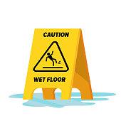 Wet Floor Vector. Classic Yellow Caution Warning Wet Floor Sign. Isolated Flat Illustration