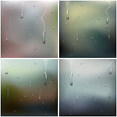 Wet Glass Set Vector. Water Drops. Pure Droplets Condensed. Clear Vapor Water Bubbles. Rain Drops. Steam Shower. Realistic Illustration