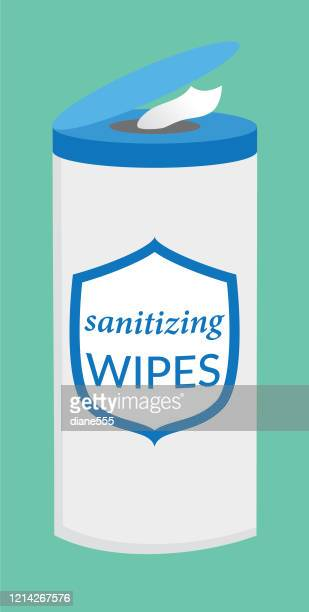 wet wipes cleaning product - hand sanitizer stock illustrations