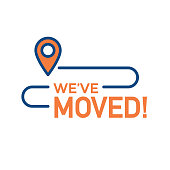 We've Moved Sign with Text Typography & icon to convey moving