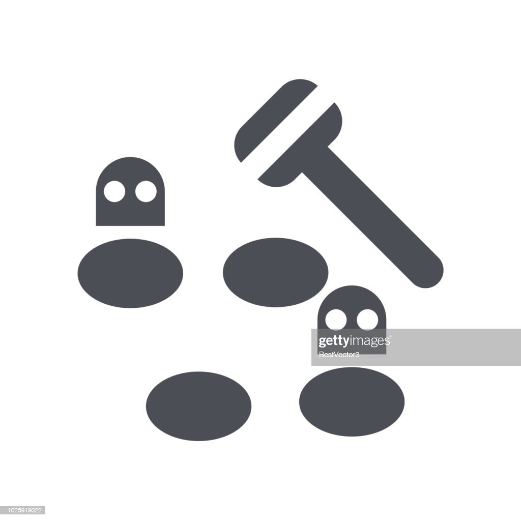 Whack a mole icon vector sign and symbol isolated on white background, Whack a mole logo concept